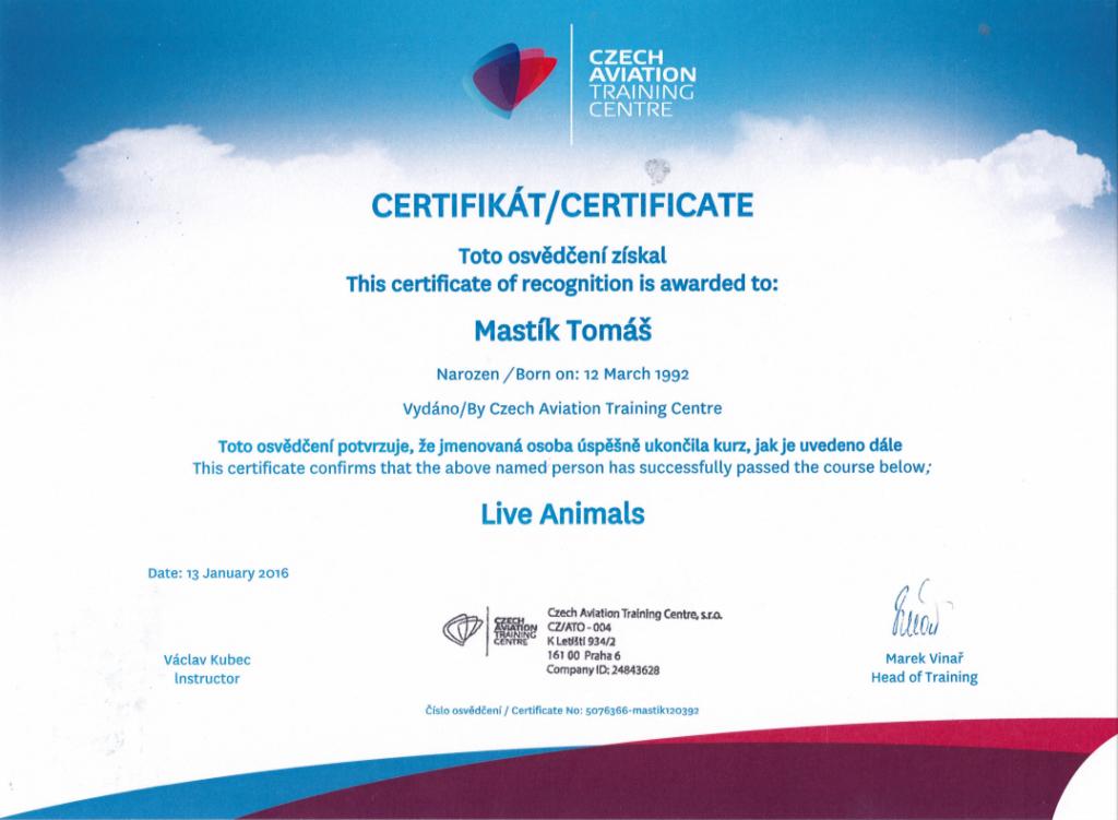 certifikát_Mastik_Tomas
